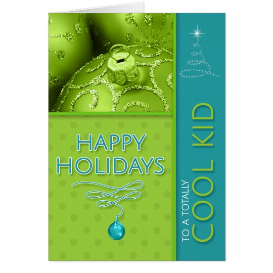 for a Cool Kid Boyish Blue and Green Holiday Card