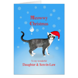 For a daughter and son-in-law, Meowwy Christmas Greeting Card