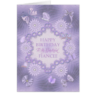 For a fiancee lilac birthday card with flowers