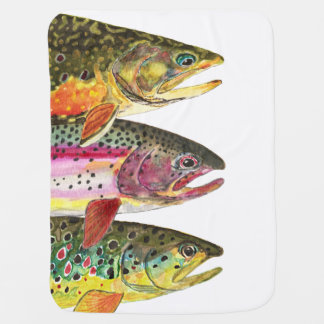 For a Future Fishing Fan ... 3 Big Trout Baby Blanket