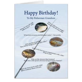 For a grandson, Fishing jokes birthday card