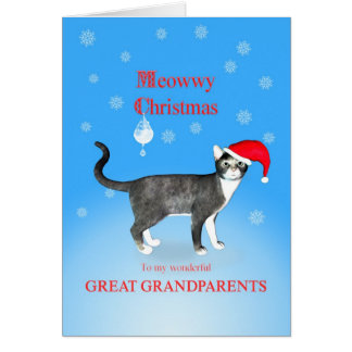 For a Great Grandparents, Meowwy Christmas cat Greeting Card