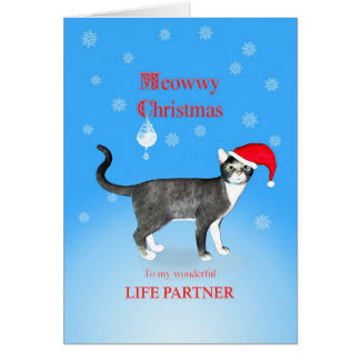 For a life partner, Meowwy Christmas cat Card