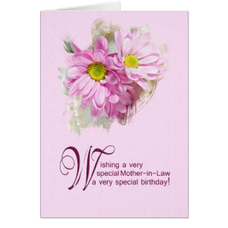 For a mother-in-law a birthday card with daisies
