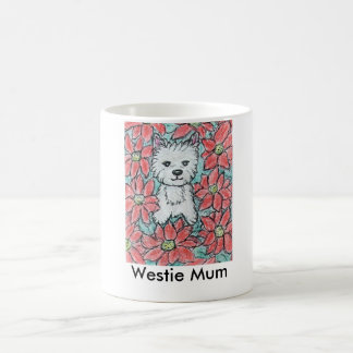 FOR A WESTIE MUM with POINSETTIAS Christmas Basic White Mug