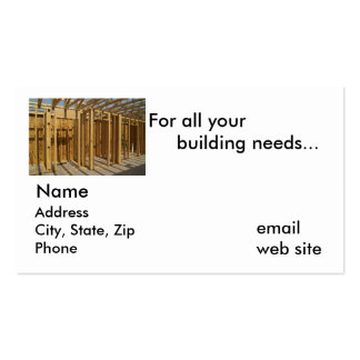 For all your building needs... pack of standard business cards
