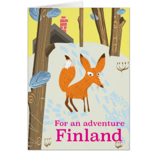 For an Adventure Finland retro travel poster Card