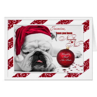 for Au Pair Christmas Bulldog Card