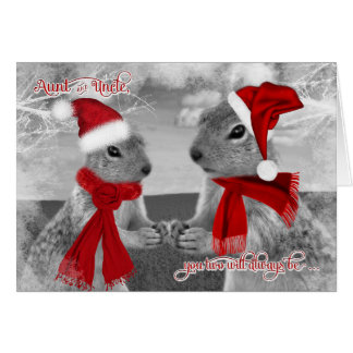 for Aunt and Uncle Christmas | Squirrels in Love Greeting Card