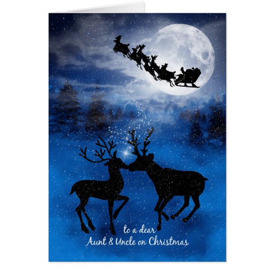 for Aunt and Uncle Kissing Reindeer Christmas Card