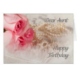 For Aunt, Happy Birthday roses and pearls Greeting Card