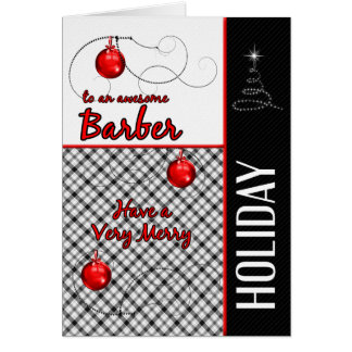 for Barber | Masculine Red and Black Holiday Greeting Card