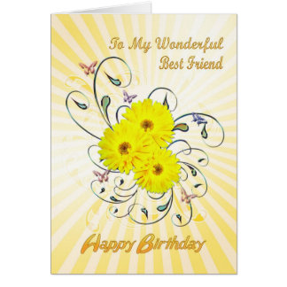 For Best Friend birthday card with yellow flowers