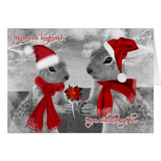for Boyfriend Romantic Christmas   Squirrel Love Greeting Card