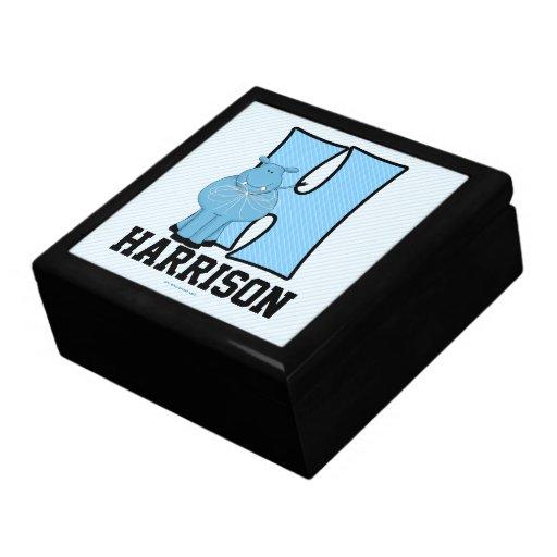 "for Boy's Blue Hippo Monogram ""H"" Keepsake Boxes"