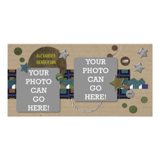 For Boys Cardboard Stars Brown Green Blue Designer Customised Photo Card