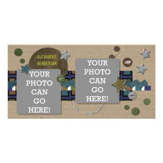 For Boys Cardboard Stars Brown Green Blue Designer Customised Photo Card
