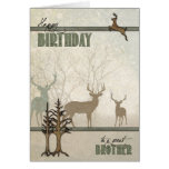 for Brother   Birthday   Deer in the Forest Greeting Card