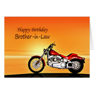 For Brother-in-law, Motorcycle sunset birthday Card