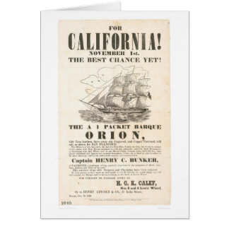 "For California!...""Orion"" Advertisement (1281A) Greeting Card"