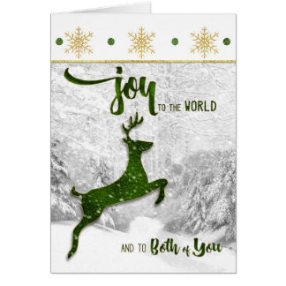 for Couple Christmas Joy to the World Green Deer Greeting Card
