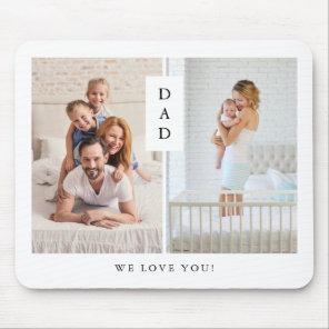 For Dad | Modern Two Photo Grid Mouse Mat