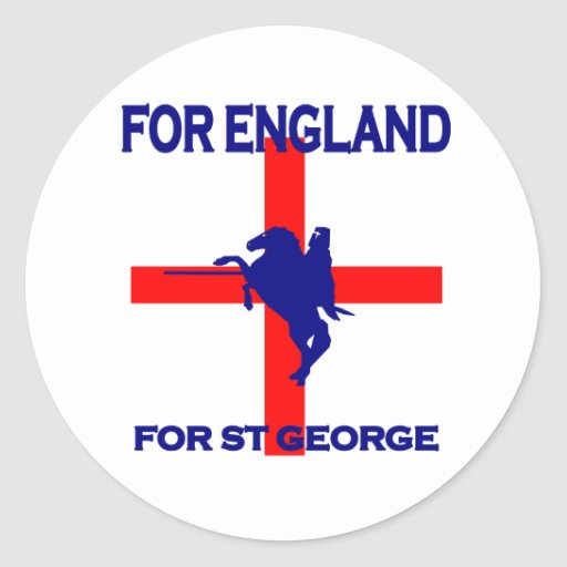 For England For St George Round Stickers
