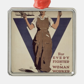 For Every Fighter a Woman Worker Christmas Ornament