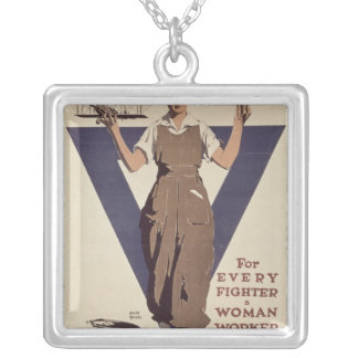 For Every Fighter a Woman Worker Silver Plated Necklace