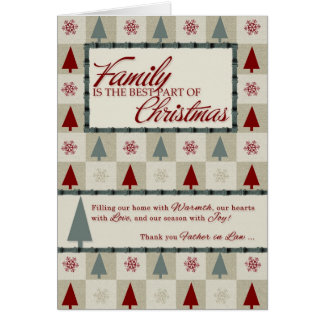 for Father in Law Retro Christmas Trees Greeting Card
