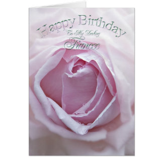 For Fiancee, a Birthday card with a pink rose
