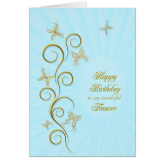 For fiancee, Birthday with golden butterflies Greeting Card
