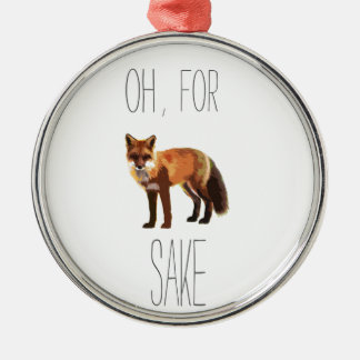 For Fox Sake Arty Cutout Silver-Colored Round Decoration