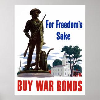 For Freedom's Sake - Buy War Bonds Poster