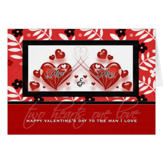 For Gay Partner - Valentine's Day His & His Hearts Greeting Card