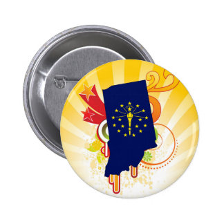 For Gifts: Indiana Flag Map 6 Cm Round Badge