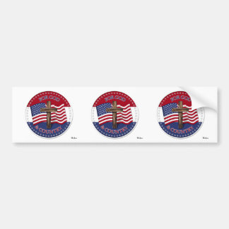 For God And Country - Cross with 50 stars US Flag Car Bumper Sticker