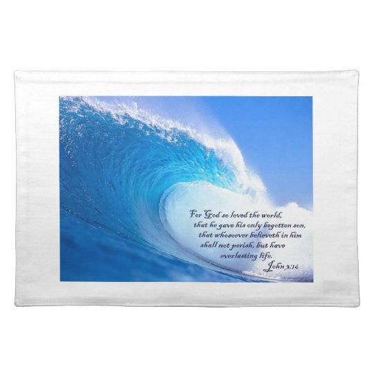 For God So Loved John 3:16 Ocean Waves Design Placemats