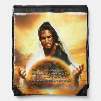 For God so Loved the World 2 Drawstring Backpack