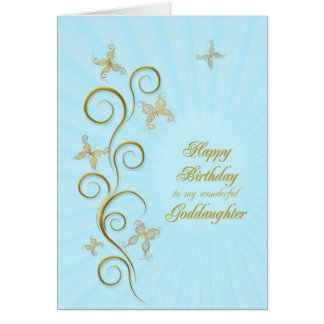 For goddaughter, Birthday golden butterflies Card