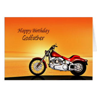 For Godfather, Motorcycle sunset birthday card