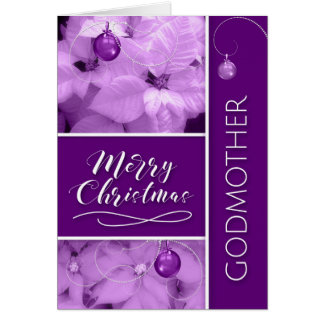 for Godmother Christmas Lavender Purple Poinsetta Card
