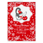 For Godson at Christmas Custom Greeting Cards
