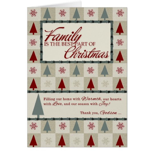 for Godson Holiday Christmas Tree Retro Theme Card