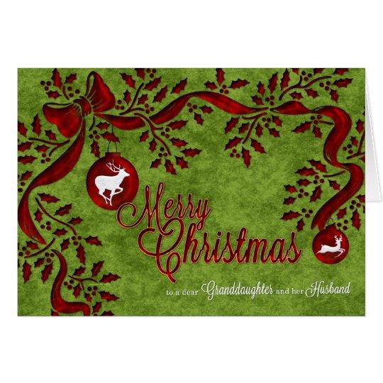 for Granddaughter and Husband Christmas Reindeer Card