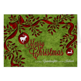for Granddaughter and Husband Christmas Reindeer Greeting Card
