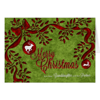 for Granddaughter and Partner Christmas Reindeer Card