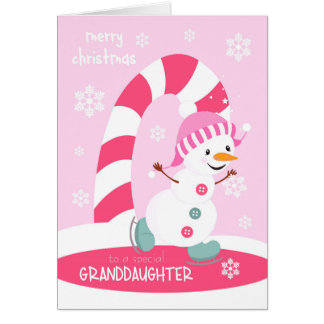 For Granddaughter Christmas Ice Skating Snowman Greeting Card