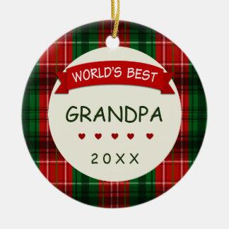 For Grandpa Holiday Plaid Christmas Gift Ornaments