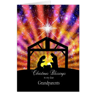 For grandparents, Nativity at sunset Christmas Card